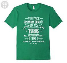 Mens 1986 T-Shirt For Men/Women. 31st Birthday Gift Ideas. Medium Kelly Green - Birthday shirts (*Amazon Partner-Link)