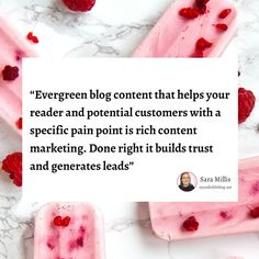 """""""Evergreen blog content that helps your reader and potential customers with a specific pain point is rich content marketing. Done right it builds trust and generates leads."""" ~ Sara Millis, Content Marketing Manager  👉 How much of your blog on average is evergreen?  --- #quoteoftheday #blogger #bloggersofinstagram #blogging #blogtips #contentmarketing #contentmarketingmanager #inboundmarketing #marketing #smallbusinessmarketing Inbound Marketing, Content Marketing, Online Marketing, Digital Marketing, Small Business Marketing, Craft Business, Lead Generation, Blog Tips, Evergreen"""
