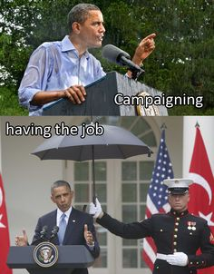 The difference between campaigning and having the job: #lameduck At least the Bushs' held their own umbrellas...