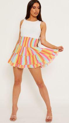 Pink skirt, mini skirt, tie dye skirt, shirred skirt, multicoloured skilrt, virgo, highwaisted