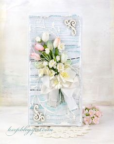 Klaudia/Kszp, Pastel card with spring paper flowers and ribbon bow.