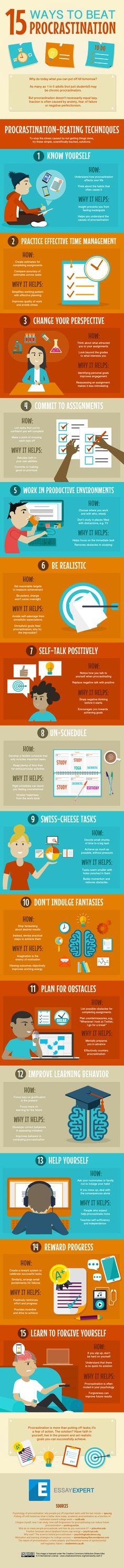 Gerald likes: Practical tips on avoiding procrastination. Wondering about the idea of small punishments for not getting things done! :: 15 Ways to Overcome Procrastination and Get Stuff Done (Infographic) Study Skills, Life Skills, E Learning, Lerntyp Test, Coaching, Education Positive, How To Stop Procrastinating, Time Management Tips, Sales Management