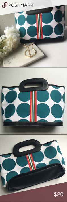 Victoria's Secret // Polka Dot Stripe Tote Adorable tote from Victoria's Secret. Teal and white polka dot fabric with faux leather trim and bottom. Ribbon with pink, yellow, teal, and white down the center for extra detail. Victoria's Secret Bags Totes