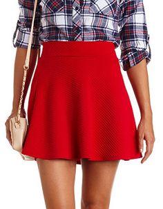 High-Waisted Textured Skater Skirt: Charlotte Russe