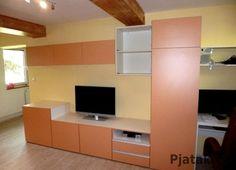 Obývací stěna materiál oranžová 515   Realizace Brno Flat Screen, Blood Plasma, Flatscreen, Dish Display