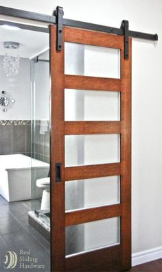 Master bathroom sliding barn door, but use with solid 5 panel door to match other doors upstairs?