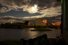 Fogo Island Inn is a place where guests take time to make time. The moon shines at Fogo Island NFLD Fogo Island Inn, Newfoundland And Labrador, Make Time, The Rock, The Outsiders, Language, Moon, Clouds, Sunset