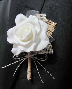 Items similar to Boutonniere Burlap & Lace - Rustic Vintage - Wedding / Event Supplies on Etsy Fall Wedding, Diy Wedding, Wedding Events, Rustic Wedding, Dream Wedding, Wedding Ideas, Wedding Vintage, Saree Wedding, Wedding Bouquets