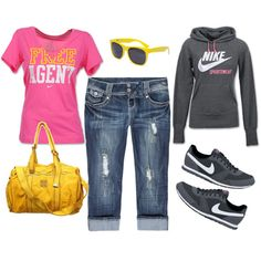 pink and yellow nike
