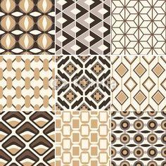 Papier peint rétro motif géométrique or transparent