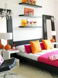colorful, modern bedroom