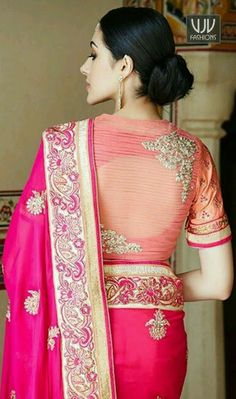 21 Latest Blouse Designs Pattern Indian Wedding Indian weddings, in short, are all about celebrating the moments of togetherness, and love. It is important for you to look good in your attire becau… Blouse Back Neck Designs, Netted Blouse Designs, Fancy Blouse Designs, Bridal Blouse Designs, Latest Blouse Designs, Latest Saree Blouse Designs, Blouse Styles, Sari Design, Saree Blouse Patterns