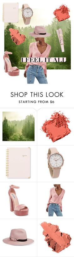 """""""Green & Blush"""" by tanyaapinto ❤ liked on Polyvore featuring interior, interiors, interior design, home, home decor, interior decorating, Bobbi Brown Cosmetics, Sugar Paper, Steve Madden and Topshop"""