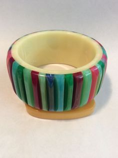 shultz bakelite multi colored rib bracelet