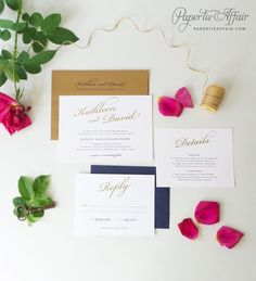 Traditional Wedding Invitation Affordable Gold by PaperTieAffair