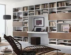 Mueble del salón, librero, con escritorio, diseño de Tumidei