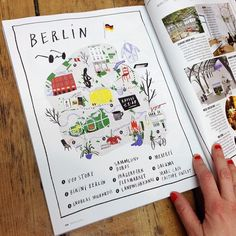From Russia with love  Recent issue of Marie Claire Russia featuring a map I drew of #Berlin Makes me want to go and check all these places out!  #ninacosford #illustration #marieclaire #marieclairerussia #berlin #map #cityguide by ninacosford