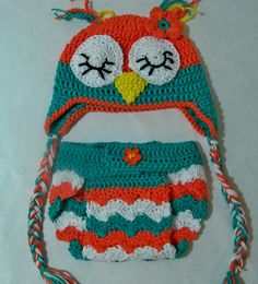 Crocheted baby chevron Owl  Photo prop by longklee on Etsy,