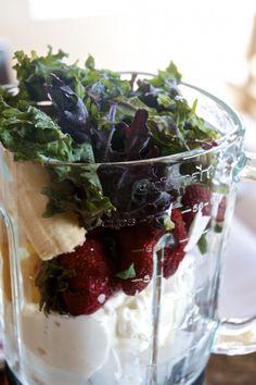 Strawberry Banana Pineapple Yogurt Smoothie with Kale