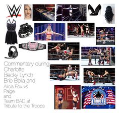"""Commentary during Charlotte, Becky Lynch, Brie Bella, and Alicia Fox vs Paige and Team BAD at Tribute to the Troops"" by wwediva72 ❤ liked on Polyvore featuring Dolce&Gabbana, Sennheiser, women's clothing, women's fashion, women, female, woman, misses and juniors"