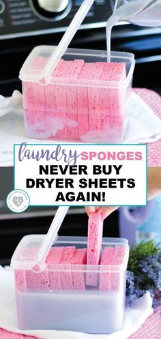 Laundry Sponges Laundry Sponges,Cleaning Who doesn't love the smell of lavender and saving money. Learn how to make lavender laundry sponges. Imagine the money you can save never having to buy dryer sheets again.