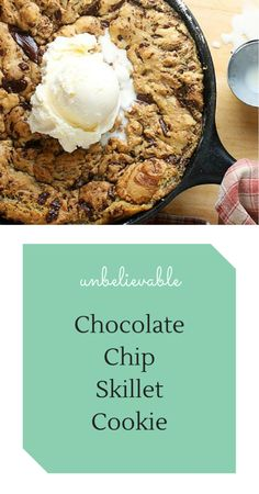 Chocolate Chip Skillet Cookie I love food. I love making it and I love eating it. But more than anything else I love how it brings people together. There is nothing like breaking bread with friends and family. They are the most special times in life. That's why I like food and recipes – and people! – that are […] Continue reading... The post Chocolate Chip Skillet Cookie appeared first on In the kitchen with Suzie Q! . http://inthekitchenwithsuzieq.com/chocolate-..