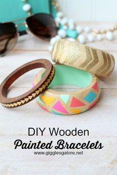 DIY Wooden Painted Bracelets made with Cricut Explore -- Giggles Galore. #DesignSpaceStar Round 2