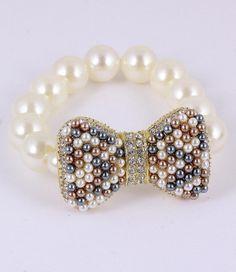 BOW multi bead stretch bracelet