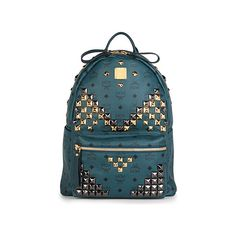 MCM Medium green studded stark backpack ($720) ❤ liked on Polyvore featuring bags, backpacks, mcm, green canvas bag, canvas knapsack, green bags, canvas bag and canvas backpack