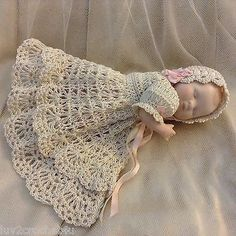 """VICTORIAN STYLE CROCHETED DRESS SET FOR 5"""" ALL BISQUE BYE LO DOLL* by Tina (07/16/2014)"""