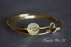 Custom Initial disc and Open Heart bracelet, Personalized Bracelet, Initial Bracelet, Valentine Gift, Gold Bangle Bracelet, , Monogram Ask a Question    $26.00 USD