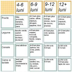 Calendarul Diversificarii Alimentatiei L - Diy Crafts - moonfer Baby Led Weaning Breakfast, Baby Led Weaning First Foods, Baby First Foods, Baby Puree Recipes, Pureed Food Recipes, Baby Food Recipes, Sweet Potato Cookies, Pork Wraps, Tips