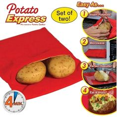 KITCHEN ACCESSORIES: Potato Express Washable Microwave Cooker Bag, Trip...