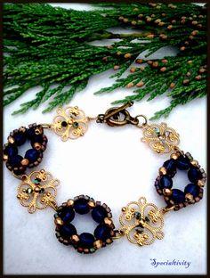 Hand beaded Victorian wreath braclet gold filigree Swarovski crystal | specialtivity - Jewelry on ArtFire