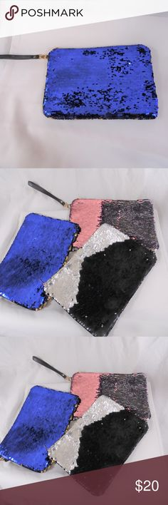 """Sequins Wristlet Clutch L-11""""x H-71/2"""" Sequins Wristlet Clutch... 3 colors to choose from and each one has 1 more color change L-11""""x H-71/2""""  All Items are inspected and pictured before shipment in order to ensure top quality!! Bundle and Save!! Happy Poshing!!!  Brought to you by: Ari's Chic Dowri ;) N/A Bags Clutches & Wristlets"""