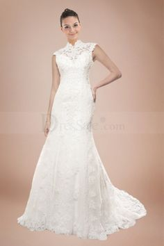 Illusion High Collar Wedding Dress With Intricate Organza