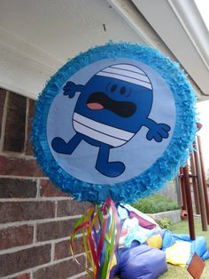 "Mr Bump pinata. I bought a cheap pinata and enlarged a picture of Mr Bump, printed it, cut it out and stuck it over the top of the ""baby's 1st birthday' which was originally on the pinata :)"