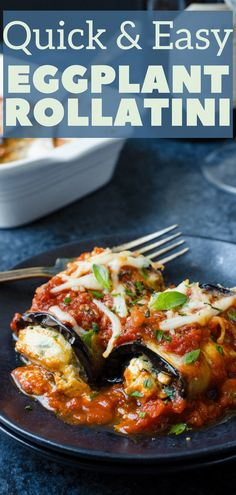 Want an easy Eggplant Rollatini Recipe? This eggplant side dish is it! Stuffed with an herb and lemon cheese filling and baked with your favorite marinara sauce, this quick eggplant recipe is ready in under an hour. Vegetarian Side Dishes, Healthy Side Dishes, Vegetarian Cooking, Side Dish Recipes, Vegetarian Recipes, Cooking Recipes, Healthy Recipes, Baked Eggplant Rollatini Recipe, Baked Eggplant Parmesan
