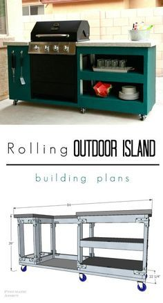 Learn to build your own Rolling Outdoor Island with FREE building plans! Learn to build your own Rolling Outdoor Island with FREE building plans! Your deck is going to be awesome this summer! Bbq Grill Island, Outdoor Grill Island, Outdoor Cooking, Outdoor Grill Station, Outdoor Barbeque, Grill Cart, Building A Deck, Building Plans, Rolling Island