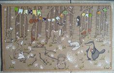 Promenons-nous dans les bois - Illustration sur carton - 30x50 cm - Tous droits réservés - Miod illustration