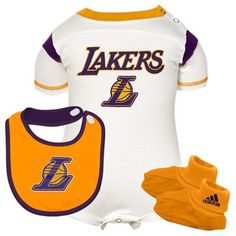 adidas Los Angeles Lakers Infant Creeper, Bib & Booties Set - White/Gold
