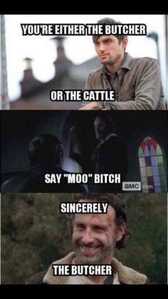 Moooooo..... #TWD The Walking Dead and bad ass Rick Grimes