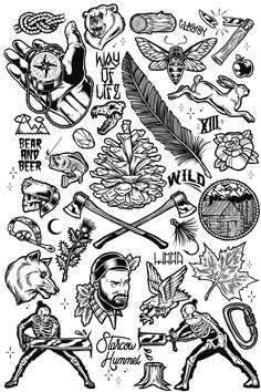 Woodland Tattoo Flash