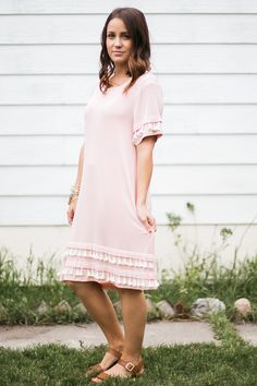 We love this dusty pink dress with cream tassel details! #lovelulu