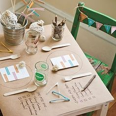 Kid corner! Butcher paper tables and crayons, or art easels and twine for them to hang their creations, or activity bag with items inside for your little guests to play (coloring book, disposable camera for the older kids, puzzles . . . )