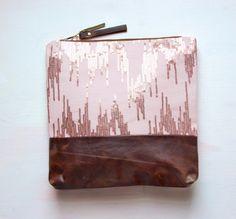 M E T A L L I C Leather Clutch Large Make Up by GiftShopBrooklyn, $88.00