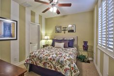 Staged Guest Room with Patterned Comforter. #goodstaging