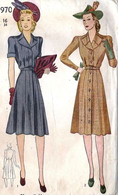 1940s Misses Tailored Dress Vintage Sewing Pattern, Simplicity 3970