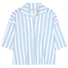 Balenciaga Striped Cotton Blouse (1.375 BRL) ❤ liked on Polyvore featuring tops, blouses, blue, stripe top, blue stripe blouse, striped top, stripe blouse and blue blouse