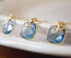 Absolutely LOVE this!: Bridesmaids Necklaces, Set of 3, Blue Topaz Hydro Quartz, Square, Bezel, Vermeil, Ocean Chic, Nautical, Starfish, Gemstone, Unique,SSN-211. $80.00, via Etsy.